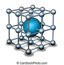 Blue nanoparticle atom - Nanoparticle atom grid model with...