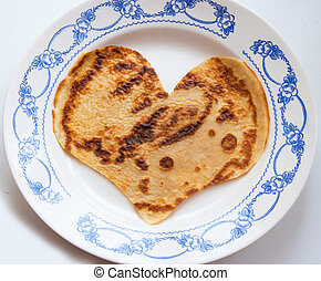 Simbol of Valentine day - The pancake heart simbol of...
