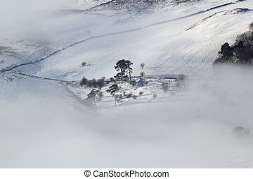 winter moorland - Scottish moorland landscape in snow, sun...