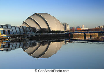 armadillo reflection - Glasgow's Armadillo in winter...