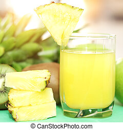 Pineapple juice on a light background