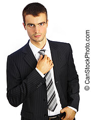 young man in a suit on a white background