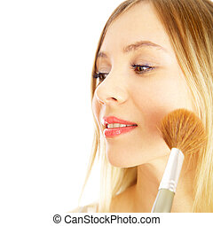 girl on a white background. Make-up.