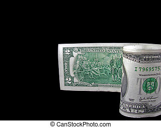 Two Bucks - Two dollar bill on a black background.