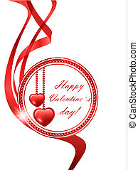 Valentine`s day red frame with two hearts and copyspace