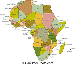 Africa Map - a full color map of africa with country names...