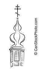 Pear-shaped Dome of Orthodox Church Outline vector EPS-8
