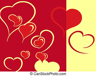 hearts are in warm tones - Red and yellow characters of...