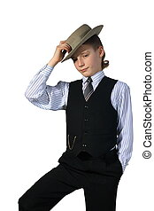 Boy in a grey hat and in a black suit on the white...