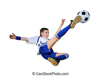Boy with soccer ball, Footballer on the white background...