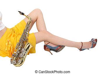 Women's, long, sitting, sax