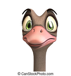 cute toon ostrich gives so much fun. 3D rendering with...