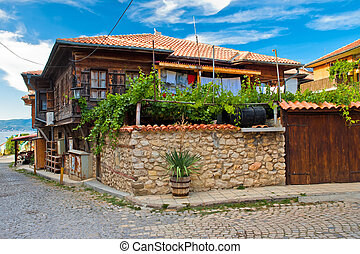The typical house in Nesebr, Bulgaria - The view of typical...