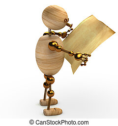 wood man reading the newspaper 3d rendered