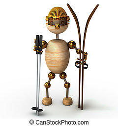 wood man skiing 3d rendered