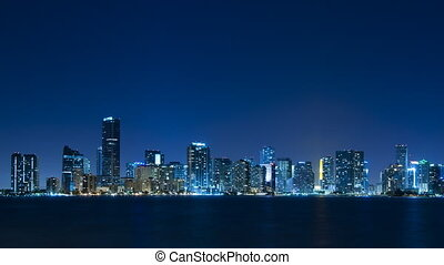 Time lapse - Miami skyline at night - Time lapse of the...
