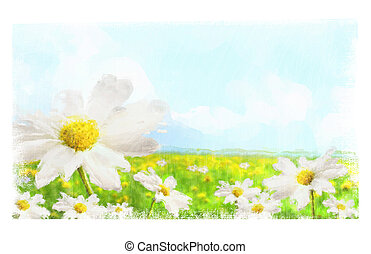 Digital watercolor of large shasta daisies in field with...