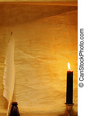 Paper, quill, and ink lit by candle - Paper, quill, ink lit...