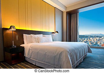 Penthouse room on a sunny day, room with a view