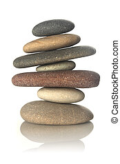 Stacked stones isolated on white