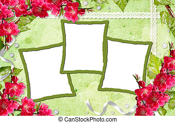 Green spring background with flowers and frames