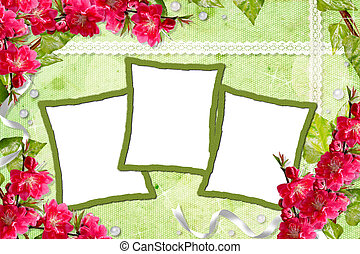 Green spring background with frames and flowers