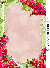 Green spring background with card, flowers and frames