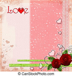 Greeting Card to Valentine's Day with hearts and roses and text Love