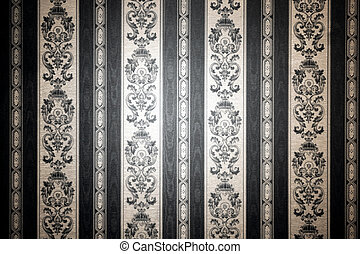 Vintage wallpaper in brown and white