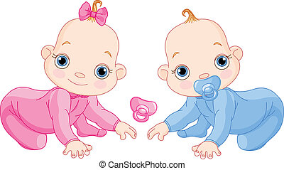Cute creeping twins - Illustration of creeping baby twins...