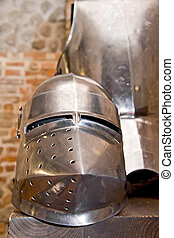 Middle Ages - Medieval armor in old cellar.
