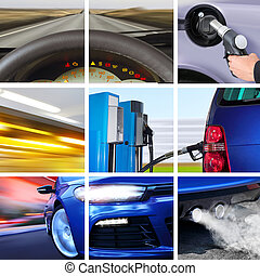 collage of transport attributes - collage of car interior...