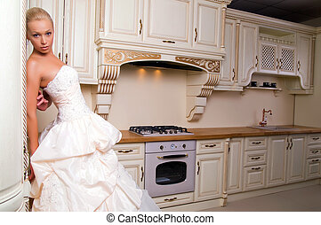 bride stands in the kitchen - beautiful bride stands in the...