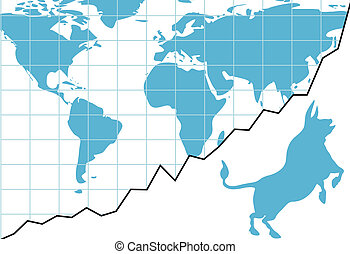 Global bull market chart stocks world growth graph - Bull...