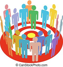 Targeted marketing people group on target - Group of...