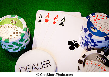 poker - Poker cards aces with stack and dealer button