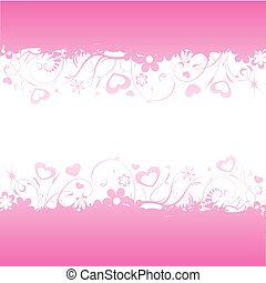Love background - Pink background with hearts and flowers...