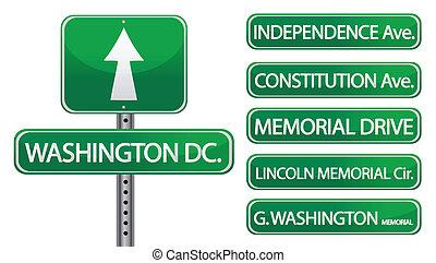 washington DC - washington dc street signs isolated over...