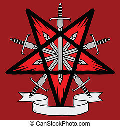 Woodcut pentagram with swords - Inverted pentagram and...