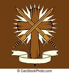 Woodcut cross with swords - Woodcut or tattoo style cross...