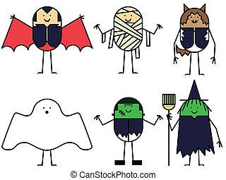 Six Halloween characters