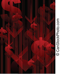 Recession background - Background of downward arrows and red...