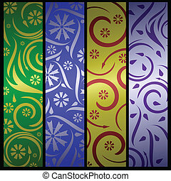 Four floral banners