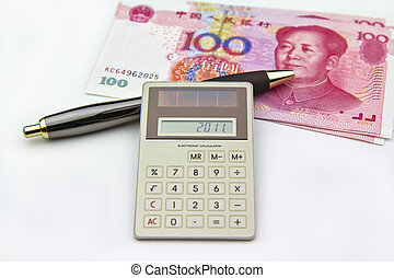 Money, pen and calculator - Photo session of calculator...