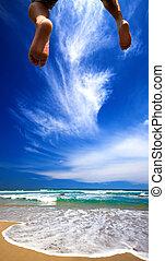 jumper and beautiful beach