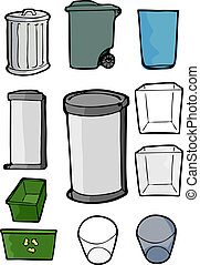 Set of Trash and Recycling Cans