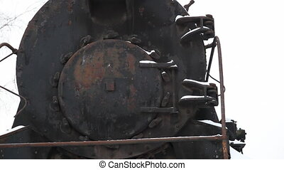 Old locomotive - Train cemetery near Moscow city. Dolly shot
