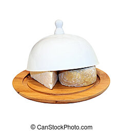 Cheese tray - Wooden cheese tray covered with ceramic tray...