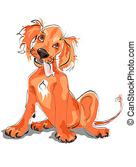 setter puppy - Cute Irish red setter puppy character.