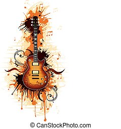 Electric Guitar With Abstract Svirl isolated on White...
